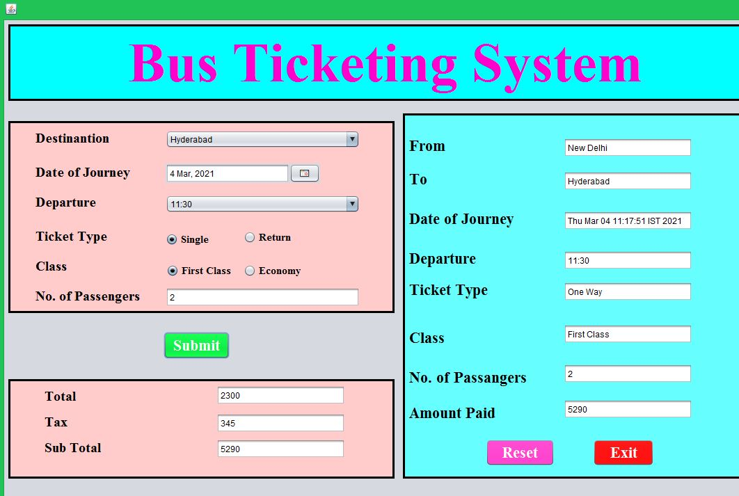 Java Bus reservation System Free source code
