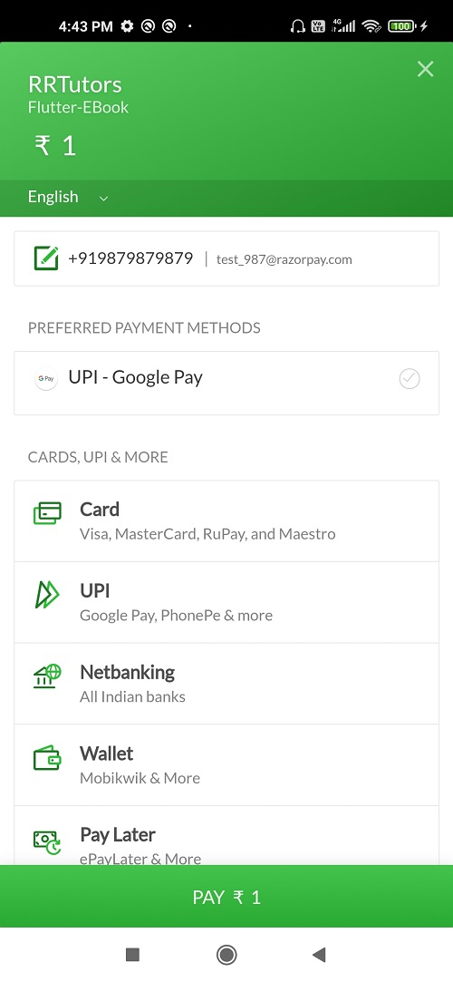 Flutter Razorpay payment gateway