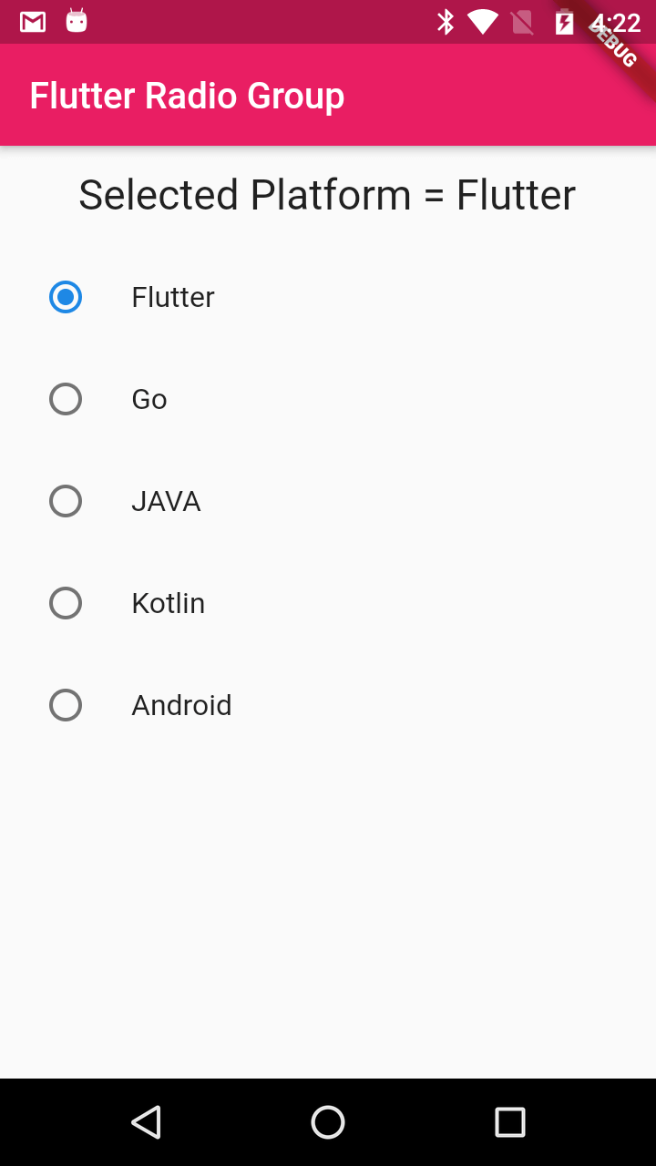 Flutter Radio Group Widget
