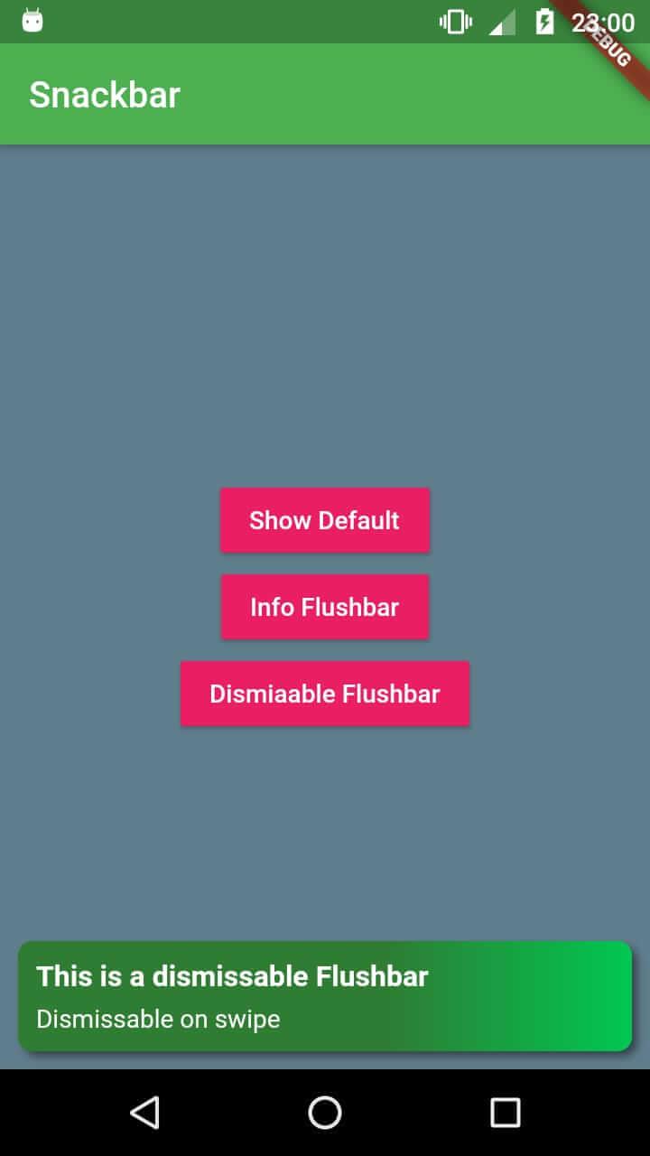 Snackbar on Flutter (without Scaffold) using Flushbar