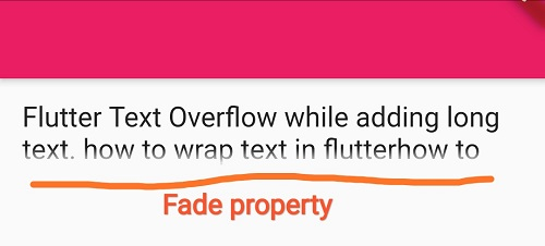 Text wrap with fade property flutter