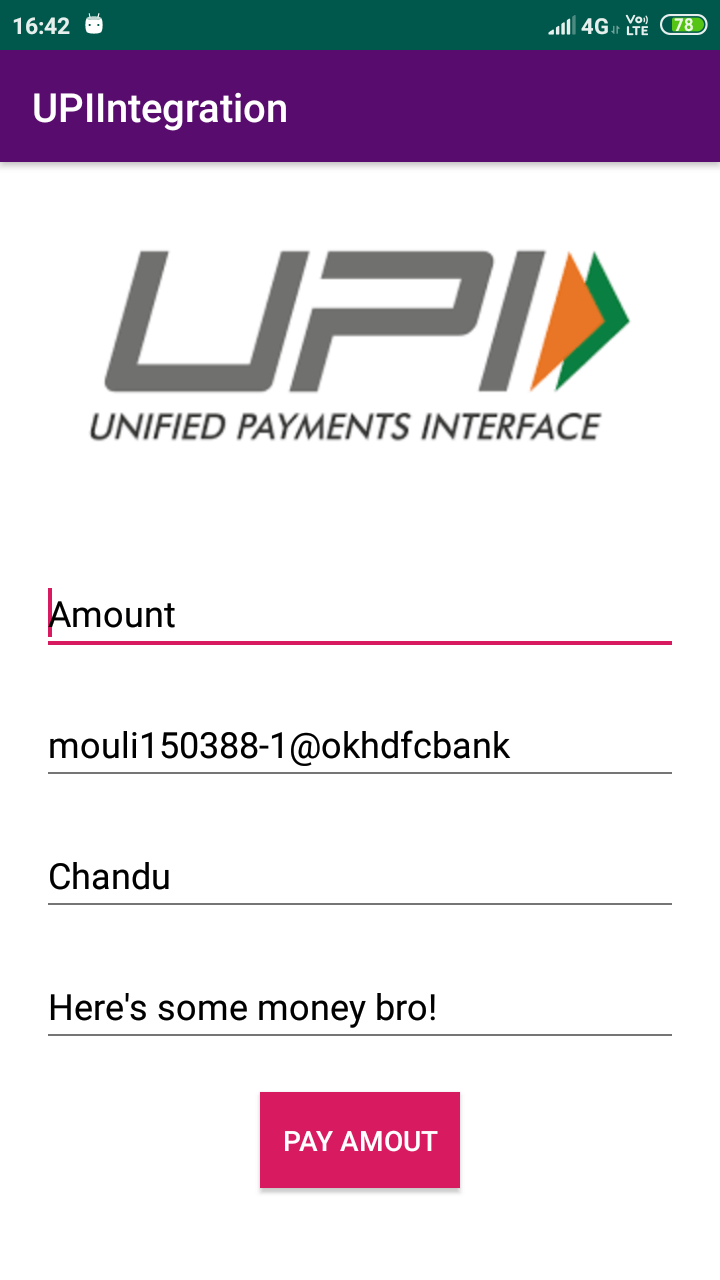 Integrating UPI payments in an Android application