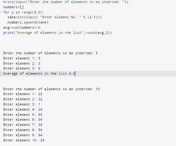 Python program to calculate average of numbers