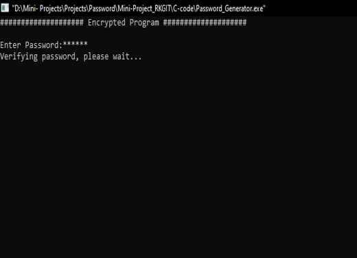 C project strong Password Generator