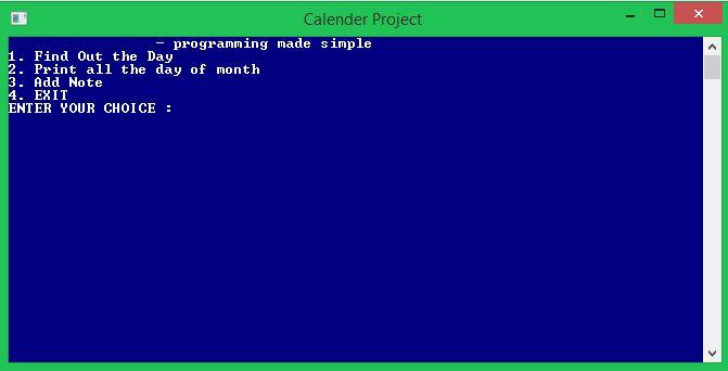 C Beginner Projects - Calendar application