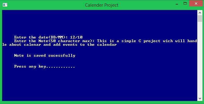 Calendar application with c language