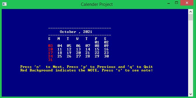C Calendar application