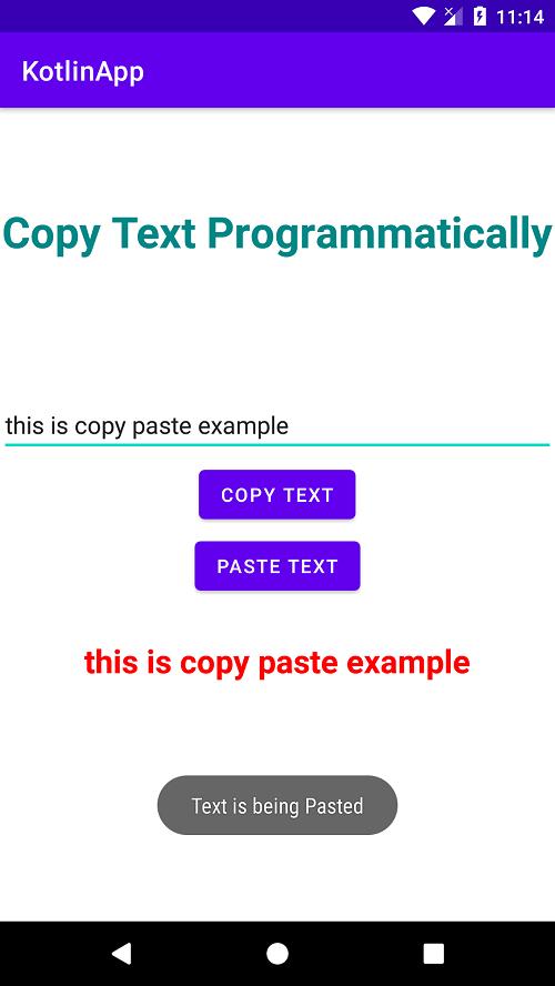 Copy text programmatically android using kotlin code