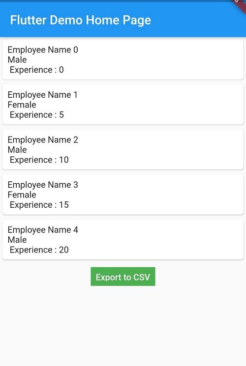 Flutter Export data to CSV file