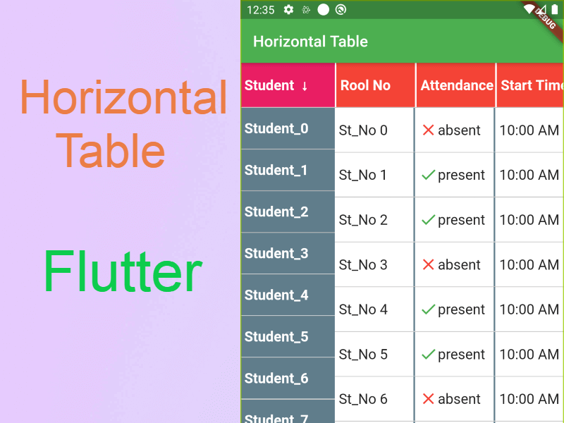 Horizontal Scrollable Table in Flutter