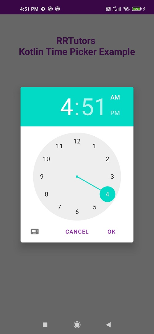 Kotlin Timepicker dialog android example