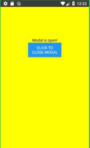 Display Modal in React NAtive