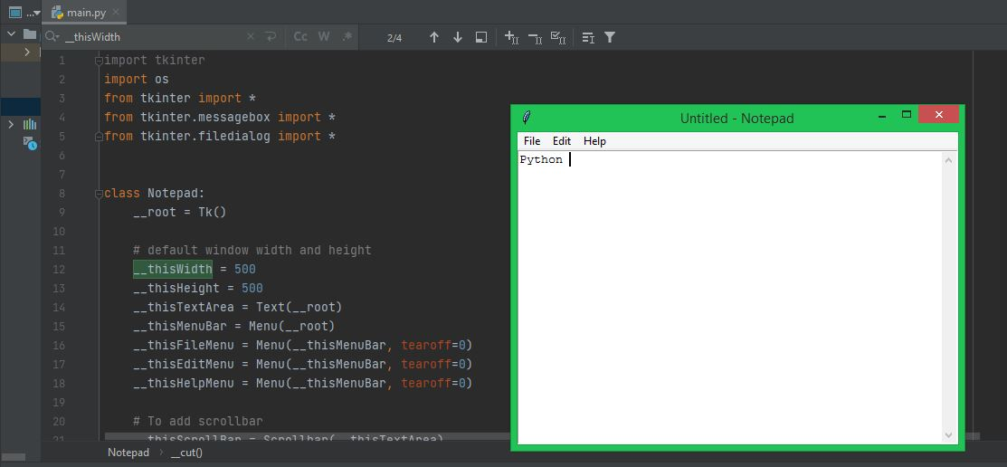 Python Project - Notepad edito
