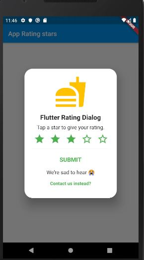 How to create rating bar dialog in Flutter App