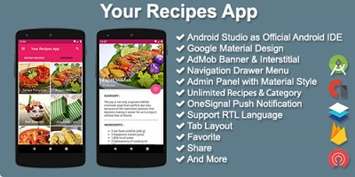 Personal Recipes App Source Code With Admin Panel + Admob