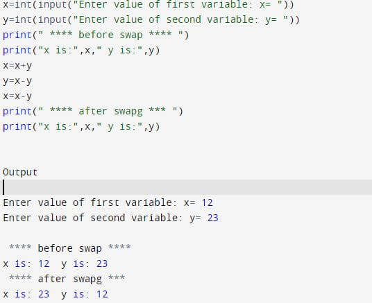 Python program to swap two numbers without temporary number