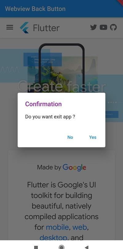 Flutter webview back button event