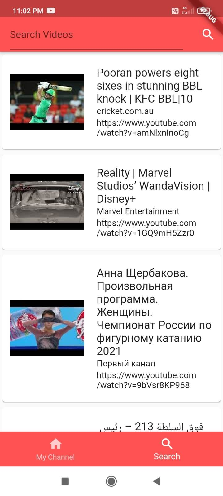 Youtube Video Search in flutter application